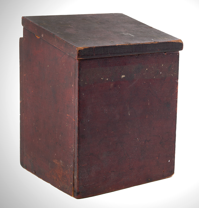 Antique, Country Salt Box, Original Red Paint America, 19th Century Poplar, entire view 2