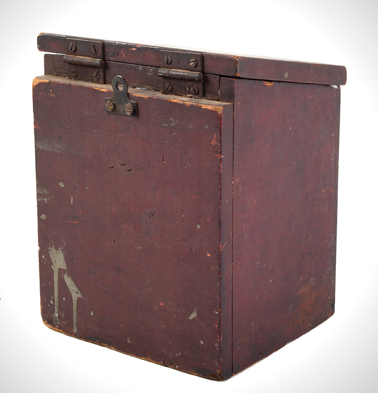 Antique, Country Salt Box, Original Red Paint America, 19th Century Poplar, entire view 3