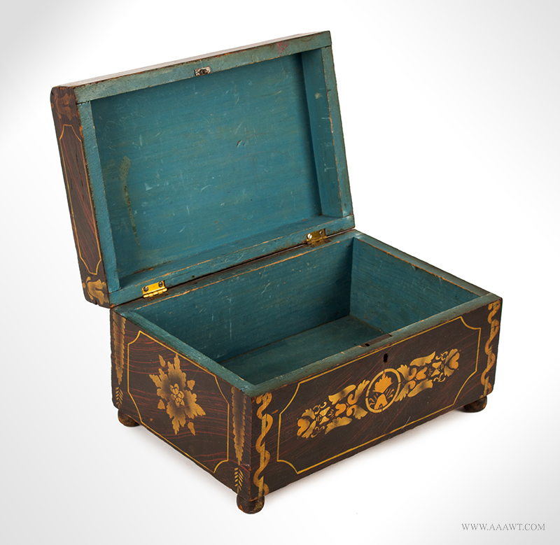 Workbox Paint Decorated and Stenciled, Likely New York, Circa 1830