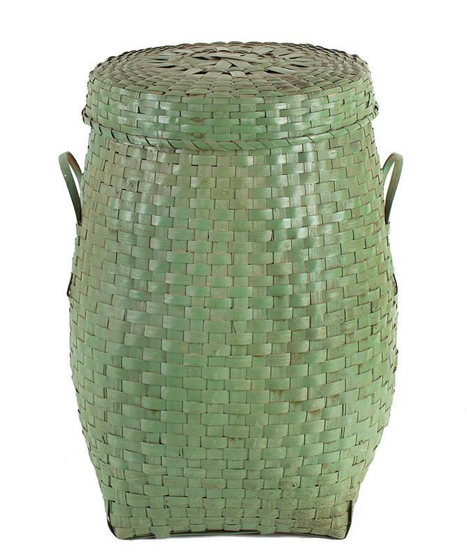 Woven Splint Feather Basket    with lid and double handles, apple green