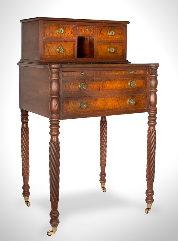 Rare Sheraton Worktable Featuring Pullout Writing Slide, Original Hardware Northern New England, probably Vermont Circa 1815-1820 Cherry case and legs, Birdseye maple veneers, mahogany banding, all basswood secondaries, entire view 2