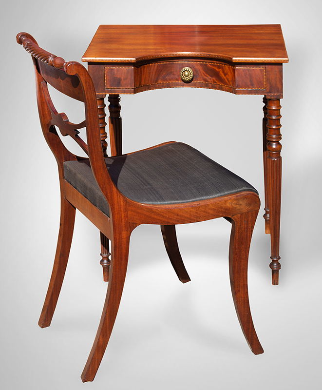 Antique Worktable, Writing Stand, Hollow Front, Coved Drawer, Inlaid Likely Northshore Massachusetts or Portsmouth, Circa 1800-1810 Mahogany, basswood secondary, table and chair view