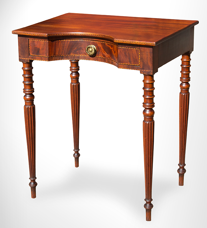 Antique Worktable, Writing Stand, Hollow Front, Coved Drawer, Inlaid Likely Northshore Massachusetts or Portsmouth, Circa 1800-1810 Mahogany, basswood secondary, table view
