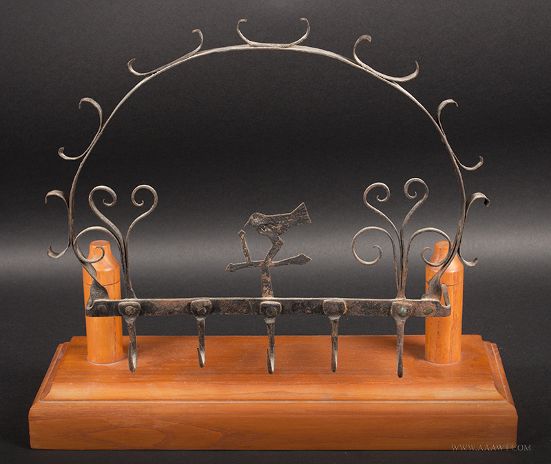 Antique Wrought Iron Game Rack, Folksy Bird Pulling Worm
