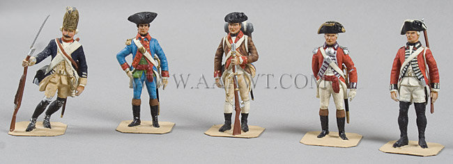 FIVE Charles Stadden American Colonial lead figures All hand made and painted by Stadder in England, sometime in the 1960's, group view