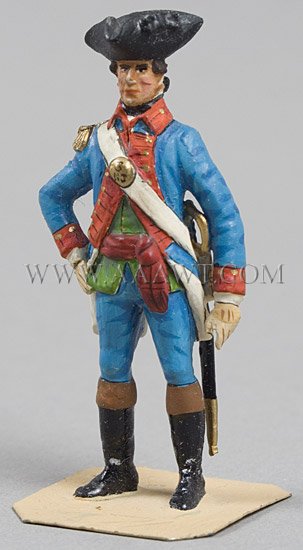 FIVE Charles Stadden American Colonial lead figures All hand made and painted by Stadder in England, sometime in the 1960's, entire view 4