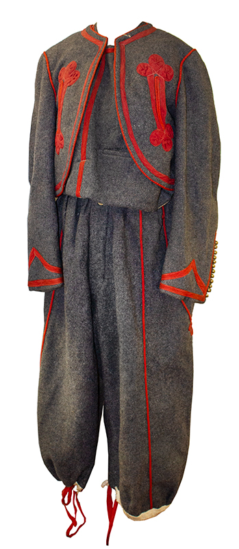 Antique Papal Zouave Uniform, Gray Wool with Red Trim, Brass Buttons  Zouaves Pontificaux, Multinational Fighting Force that Defended the Vatican, entire view 1