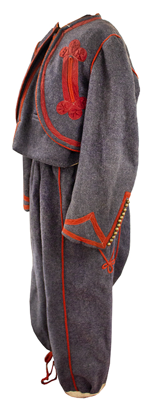 Antique Papal Zouave Uniform, Gray Wool with Red Trim, Brass Buttons  Zouaves Pontificaux, Multinational Fighting Force that Defended the Vatican, entire view 2