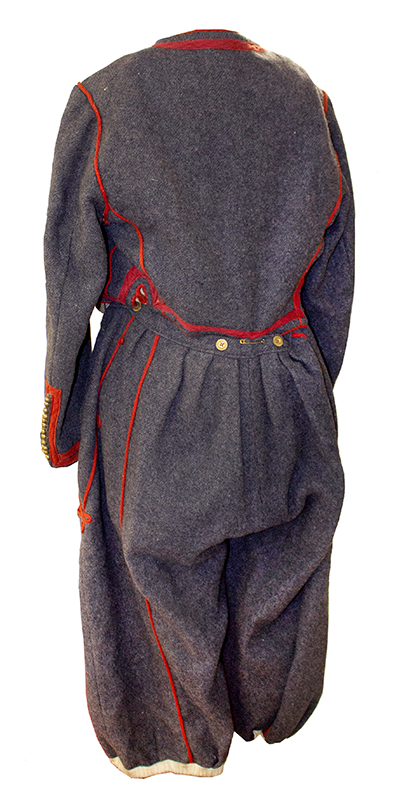 Antique Papal Zouave Uniform, Gray Wool with Red Trim, Brass Buttons  Zouaves Pontificaux, Multinational Fighting Force that Defended the Vatican, entire view 3