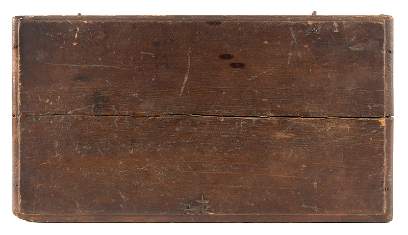 Period Tabletop Valuables Box, Bible Box, Original Red Painted Surface New England, Early 18th Century Hard yellow pine, rich old patina, top detail