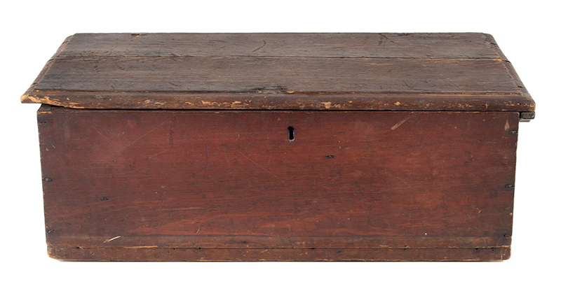 Period Tabletop Valuables Box, Bible Box, Original Red Painted Surface New England, Early 18th Century Hard yellow pine, rich old patina, entire view 1