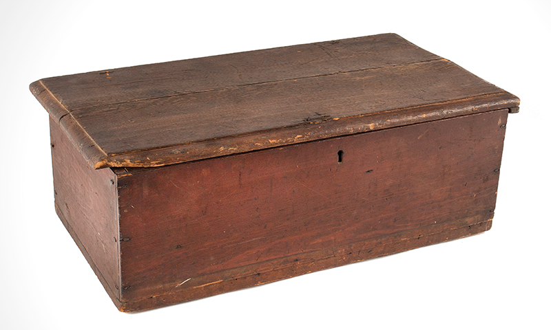 Period Tabletop Valuables Box, Bible Box, Original Red Painted Surface New England, Early 18th Century Hard yellow pine, rich old patina, entire view 2