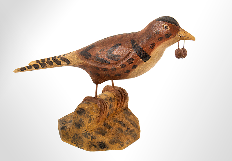 Vintage Folk Art Carved and Painted Bird, Attributed to Bernier, Saco-Biddeford, Maine Active Circa 1930s and 40s, (Joseph Romuald Bernier, b. 1873, d. 1959), entire view 1