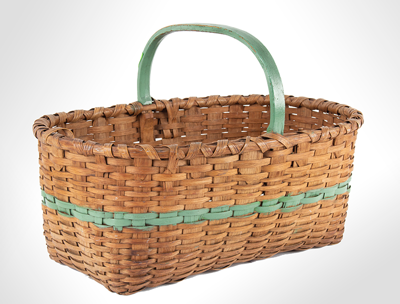 Antique Work Basket, Ash Splint, Painted Green Stripe and Handle America, Circa 1890-1920ish, entire view 1