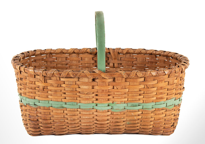 Antique Work Basket, Ash Splint, Painted Green Stripe and Handle America, Circa 1890-1920ish, entire view 2