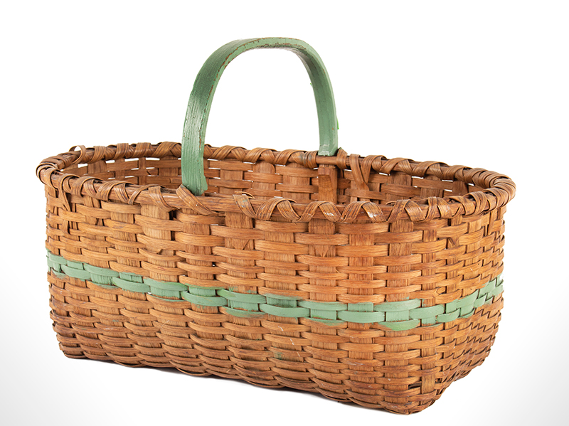 Antique Work Basket, Ash Splint, Painted Green Stripe and Handle America, Circa 1890-1920ish, entire view 3