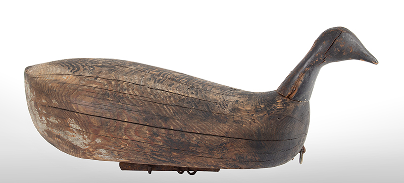 Antique Duck Decoy, Brandt, Carved-in-the-Solid…Primitive North Carolina, circa 1890-1910, entire view 1