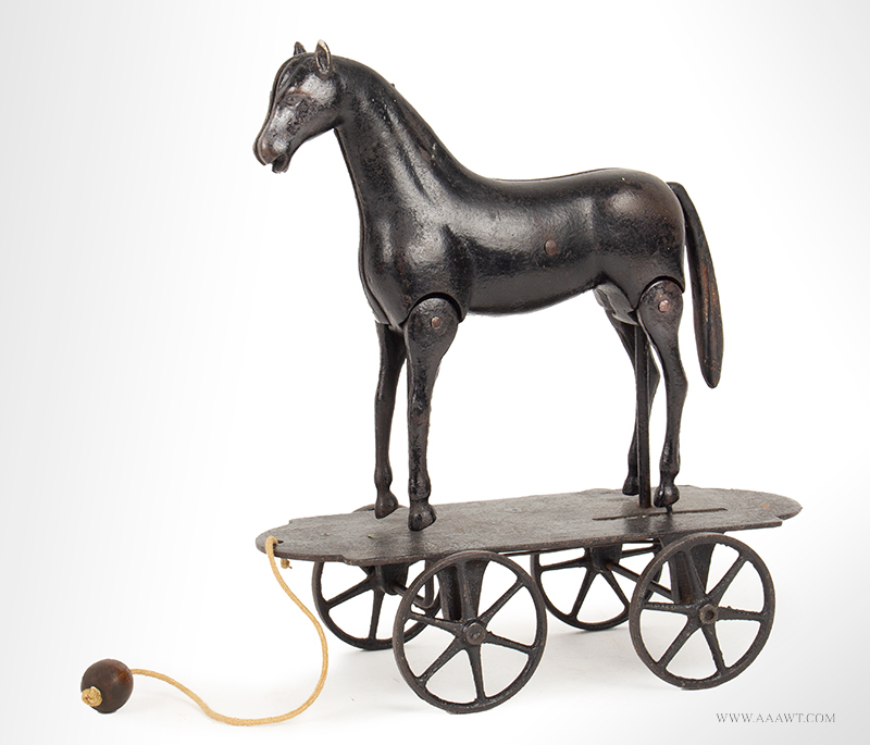 Ives Articulated Walking Horse Pull Toy, Cast Iron Platform, c1880, entire view