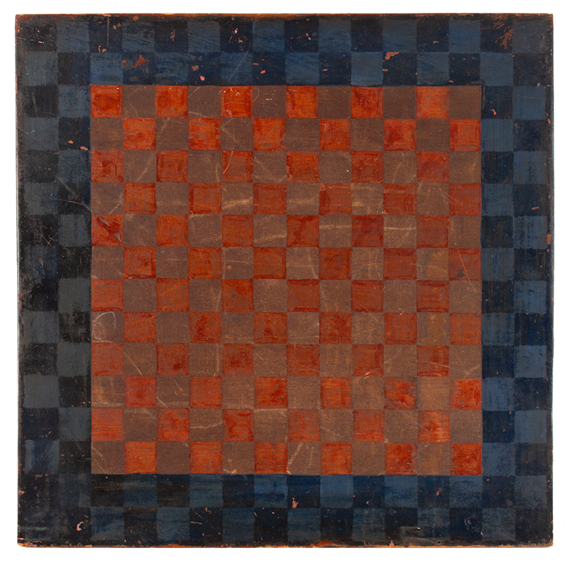 Antique Checkerboard,Gameboard,  Unknown maker, 19th century, side 1