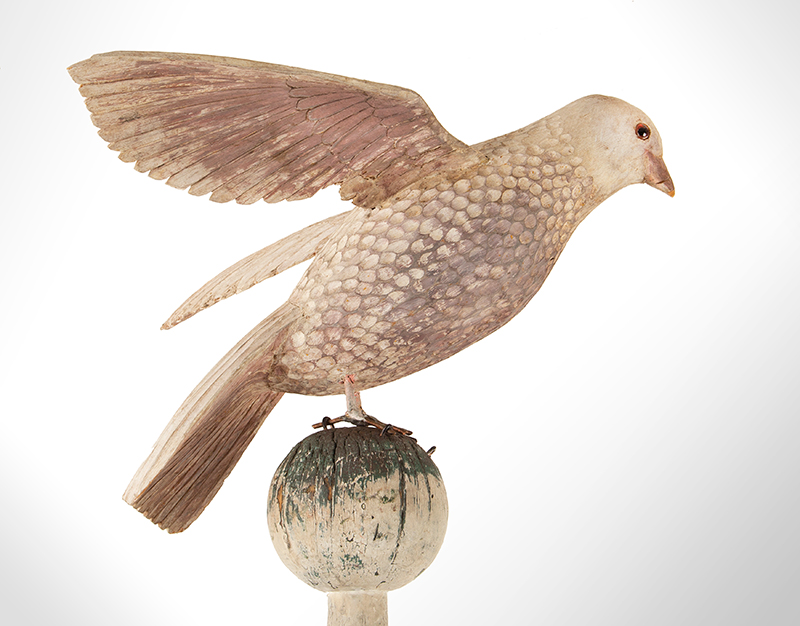 Antique Carved and Painted Spread Wing Dove, Folk Art Bird in Dry White Paint Anonymous, Late 19th Century, bird detail 2