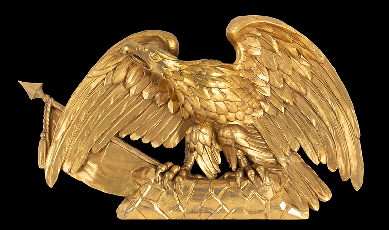 Antique Carved and Gilt American Eagle with Flag on Rockery Anonymous, circa 1820-1830 Pine, gold leaf and gold paint, entire view 1
