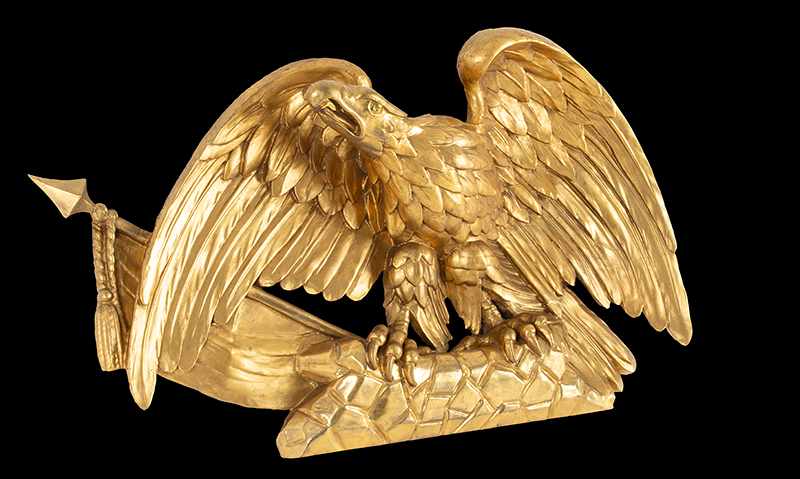 Antique Carved and Gilt American Eagle with Flag on Rockery Anonymous, circa 1820-1830 Pine, gold leaf and gold paint, entire view 2
