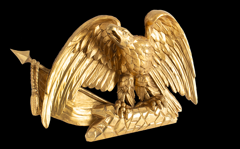 Antique Carved and Gilt American Eagle with Flag on Rockery Anonymous, circa 1820-1830 Pine, gold leaf and gold paint, entire view 3