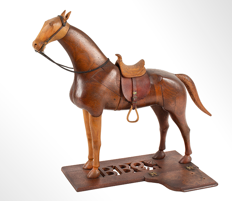 Horse Sculpture, Laminated and Carved, Geometric Puzzle, Precise Anatomy Likely Vermont, circa 1880-1900