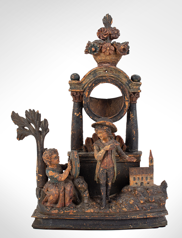 Antique, Carved & Painted Watch Stand, Hutch Likely German, circa 1830-1850 The Church is Similar to Erzgebirge Putz Village Examples, entire view 1
