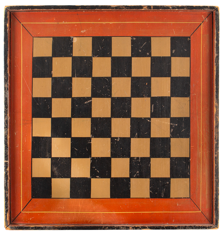 Antique Gameboard, Checkers, Paint Decorated Pine, 16'' x 17''  Unknown Maker, circa 1880  A clean and crisply rendered four-color example in fine original condition, entire view