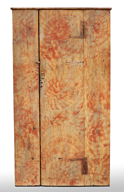 Cupboard, Paint Decorated Wall Cupboard, Original Surface History   Maine, 18 th Century, Decorated Circa 1820-1830, angle view