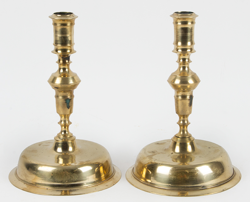 Candlesticks, A Fine Matched Pair of Copper Alloy, Low Bell Base Sticks        Spanish, circa 1680-1730