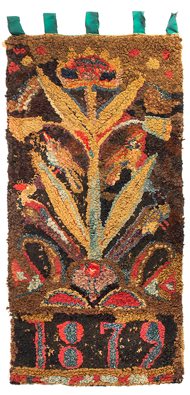 Hooked Rug, Large Flowering Plant with Birds, Vertical Orientation