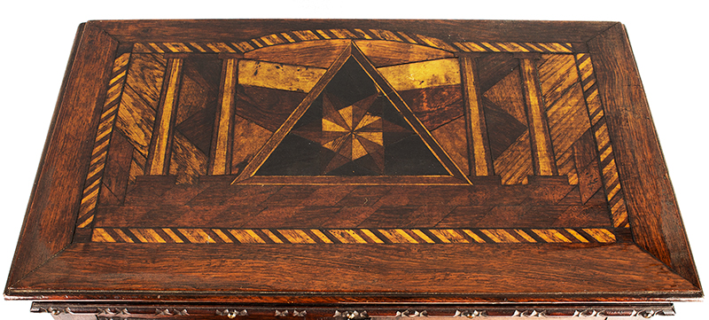Victorian Carved, Molded Marquetry Gentleman's Desk Cabinet, Dressing Box, top view
