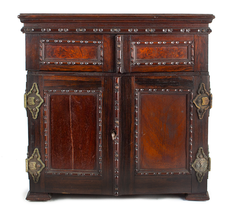 Victorian Carved, Molded Marquetry Gentleman's Desk Cabinet, Dressing Box, entire view 1