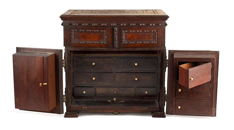 Victorian Carved, Molded Marquetry Gentleman's Desk Cabinet, Dressing Box, entire view 2