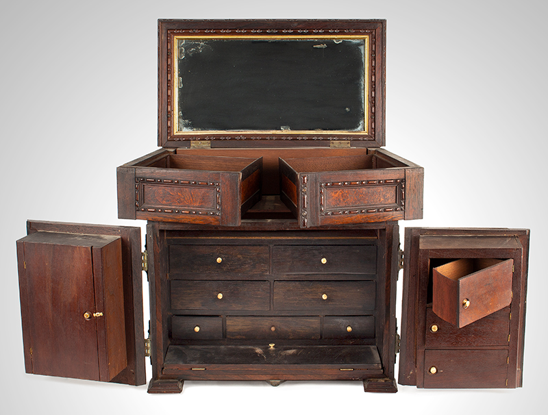 Victorian Carved, Molded Marquetry Gentleman's Desk Cabinet, Dressing Box, entire view 3