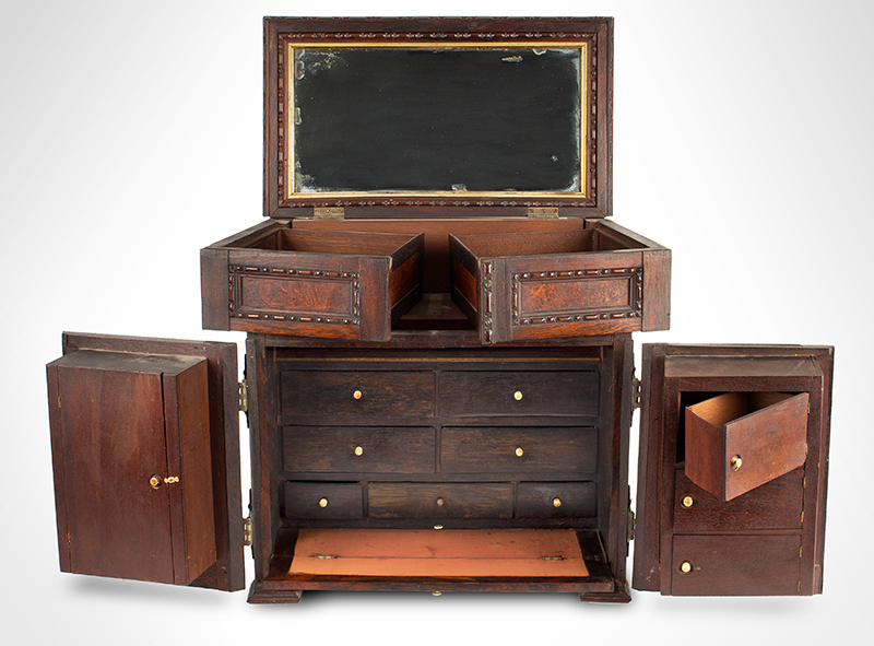 Victorian Carved, Molded Marquetry Gentleman's Desk Cabinet, Dressing Box, entire view 4