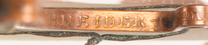 Nuremberg Single Hand Reading Magnifying Glass, Circa 1680-1750 SIGNED Embossed Copper Alloy Mount; Wire Binding Secures Mount J. E. MAY SEEL.ERE - IOH.HIERONIMUS SCHNEIDER -- IOH.ERHARD MAY SEEL.ERE, signature detail