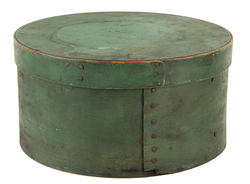 Antique Pantry – Spice Box, Original Apple Green Paint, Lid Impressed BOSTON Boston, Massachusetts, 19th Century Maple and white pine, clinched tack and peg construction, entire view