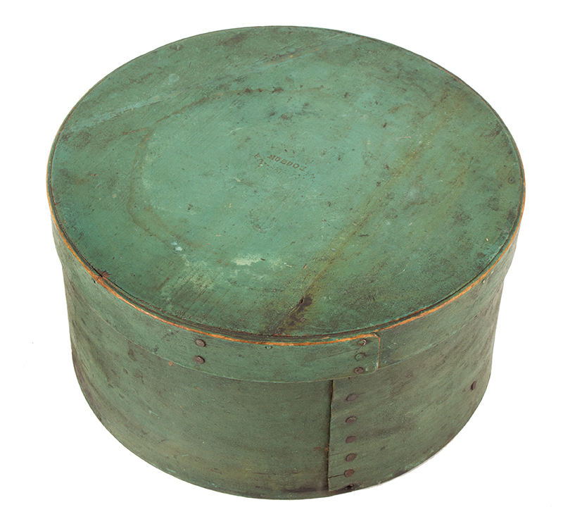 Antique Pantry – Spice Box, Original Apple Green Paint, Lid Impressed BOSTON Boston, Massachusetts, 19th Century Maple and white pine, clinched tack and peg construction, angle view 1