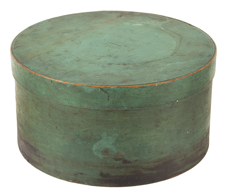 Antique Pantry – Spice Box, Original Apple Green Paint, Lid Impressed BOSTON Boston, Massachusetts, 19th Century Maple and white pine, clinched tack and peg construction, angle view 2