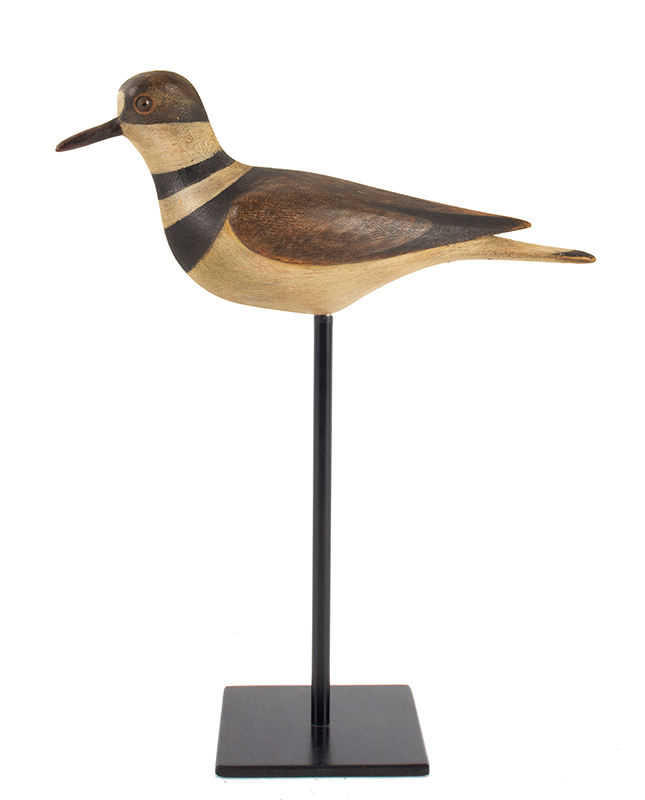 Collectible Shorebird Decoy, Killdeer, Carved and Painted, McNair Mark McNair, Craddockville, Virginia, Circa 1975 The artist is held in high regard, renowned among decoy makers and collectors, entire view 1