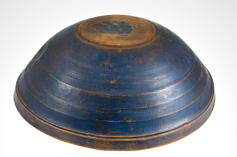 Antique Treen Turned Bowl in Original Blue Paint, Thin Walled, Turned Rim  New England, Early 19th Century Maple, bottom view 1