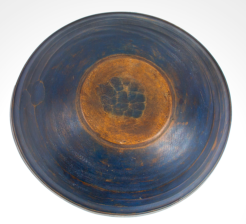 Antique Treen Turned Bowl in Original Blue Paint, Thin Walled, Turned Rim  New England, Early 19th Century Maple, bottom view 2