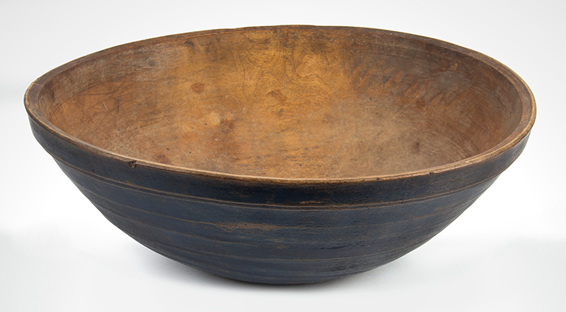 Antique Treen Turned Bowl in Original Blue Paint, Thin Walled, Turned Rim  New England, Early 19th Century Maple, entire view 1