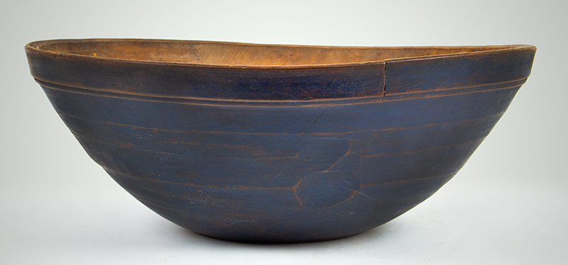 Antique Treen Turned Bowl in Original Blue Paint, Thin Walled, Turned Rim  New England, Early 19th Century Maple, entire view 2