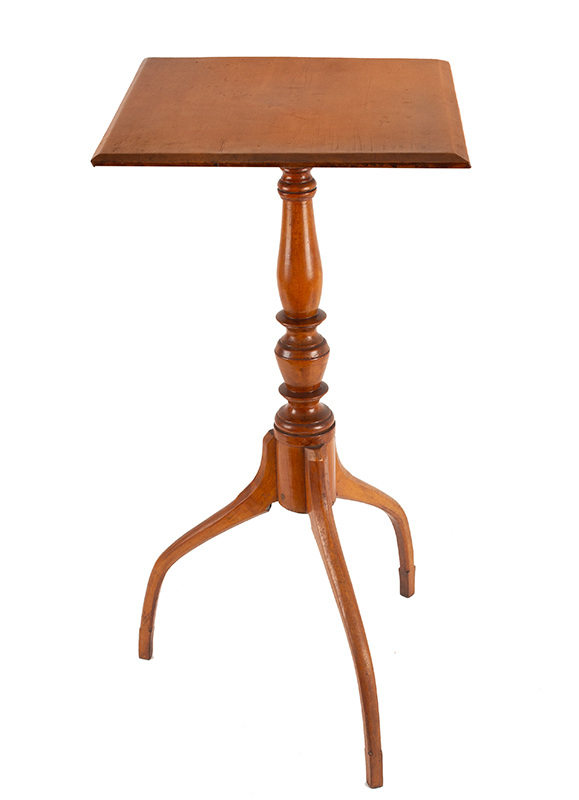 Federal Candlestand, Fine Country Table Attributed to John Dunlap II (1784-1869)    Antrim, New Hampshire, circa 1800-1810    Maple, old refinish, angle view