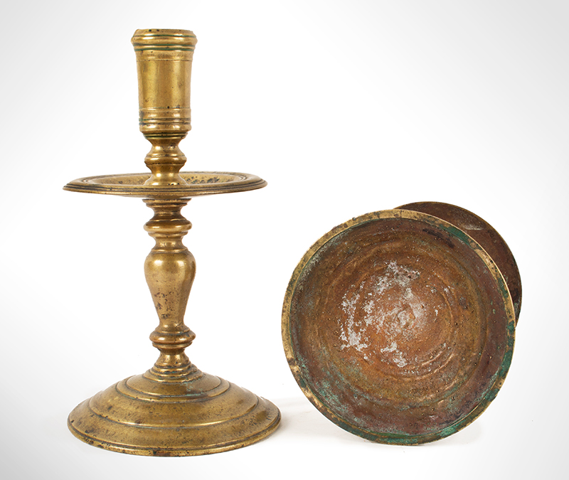 Antique Dutch Brass Heemskirk Candlestick, Pair Possibly 19th Century, entire view 2