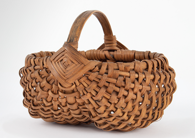 Antique Mellon-Form Splint Wood Basket, Small Size, Diamond Pattern at Handle America, 19th Century, Possibly Pennsylvania, entire view 1